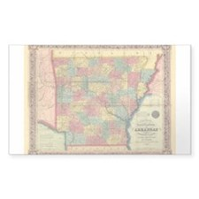 1854 Arkansas Map Rectangle Decal