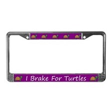 Purple I Brake For Turtles License Plate Frames