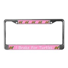 Pink I Brake For Turtles License Plate Frames