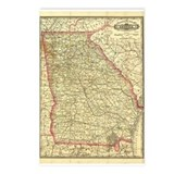 1883 Georgia Map Postcards (Package of 8)