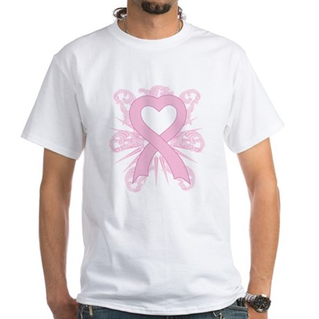Fancy Pink Heart Ribbon White T-Shirt