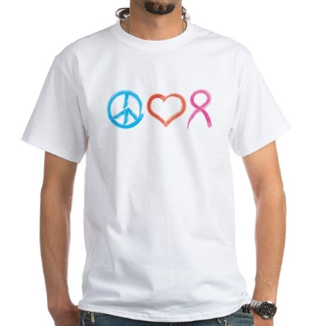 Peace Love Pink Ribbon White T-Shirt