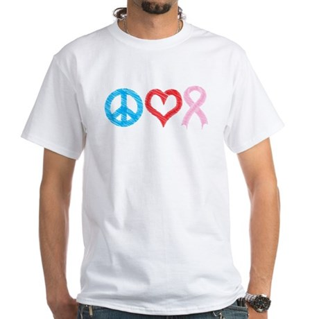 Peace Sign Heart Pink Ribbon White T-Shirt