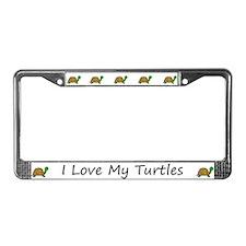 White I Love My Turtles License Plate Frames