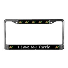Black I Love My Turtle License Plate Frames