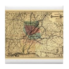 1872 Savannah & Memphis RR Tile Coaster