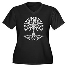 Distressed Tree II Women's Plus Size V-Neck Dark T