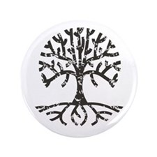 "Distressed Tree II 3.5"" Button"