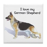 """I Love My German Shepherd"" Tile Coaster"