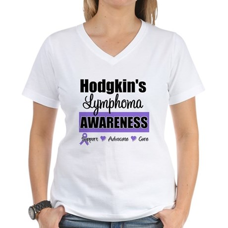 Hodgkin's Lymphoma Awareness Women's V-Neck T-Shir
