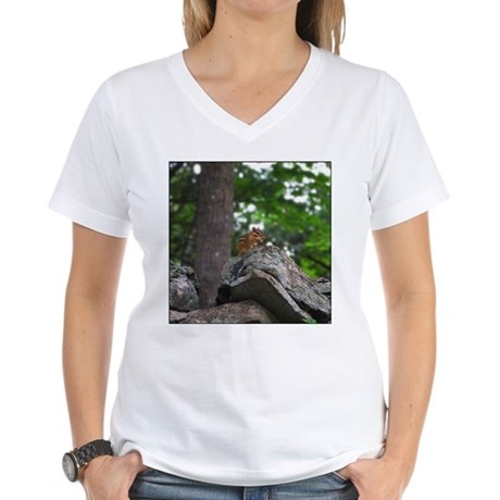 Chipmunk With Nut Women's V-Neck T-Shirt