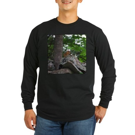 Chipmunk With Nut Long Sleeve Dark T-Shirt