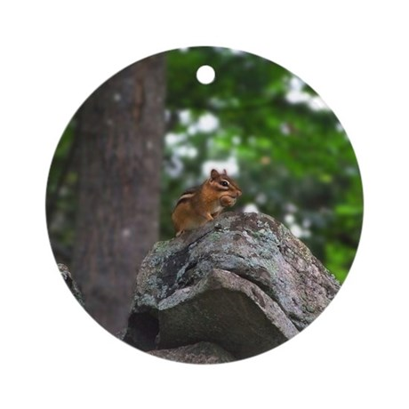 Chipmunk With Nut Ornament (Round)