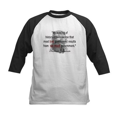 Thomas Jefferson Bad Governme Kids Baseball Jersey