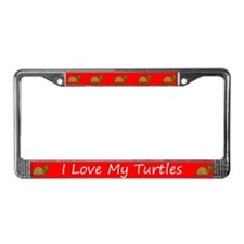 Red I Love My Turtles License Plate Frames