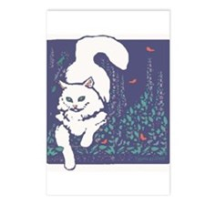 White Cat Postcards (Package of 8)