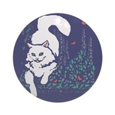 White Cat Ornament (Round)