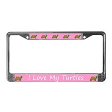Pink I Love My Turtles License Plate Frame
