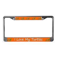 Orange I Love My Turtles License Plate Frame