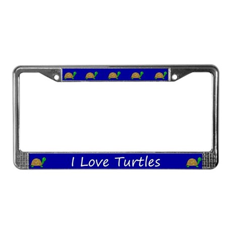 Blue I Love Turtles License Plate Frames