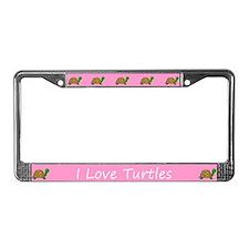 Pink I Love Turtles License Plate Frames