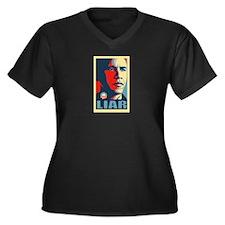 LIAR Women's Plus Size V-Neck Dark T-Shirt