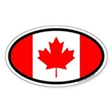 Maple Leaf Flag of Canada Euro Oval Bumper Stickers