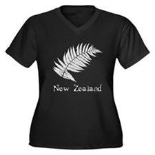 New Zealand Leaves Women's Plus Size V-Neck Dark T