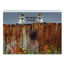 Cairn Terrier Squirrels Wall Calendar