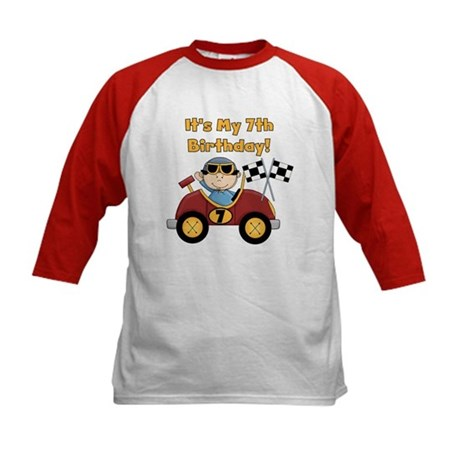 Race Car 7th Birthday Kids Baseball Jersey