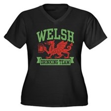 Welsh Drinking Team Women's Plus Size V-Neck Dark