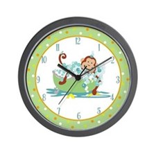 Monkey in Tub Clock #2 Orange border