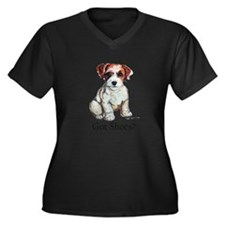 Jack Russell Shoes Women's Plus Size V-Neck Dark T