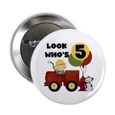 "Fireman 5th Birthday 2.25"" Button"