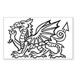 Midrealm white dragon vinyl Rectangle Sticker