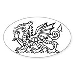Midrealm white dragon Vinyl euro-style sticker