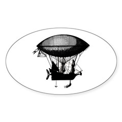 Steampunk pirate airship Oval Sticker