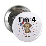 "Party Monkey 4th Birthday 2.25"" Button"