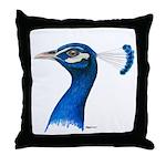 Peacock Head Throw Pillow