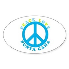 Peace Love Punta Cana Oval Decal