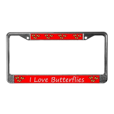 Red I Love Butterflies License Plate Frame