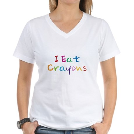 I Eat Crayons Womens V-Neck T-Shirt