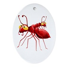 Two Red Ants Oval Ornament