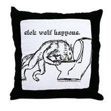 Sick Wolf Throw Pillow
