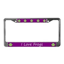 Purple I Love Frogs License Plate Frame