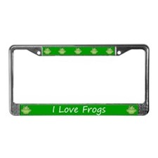 Green I Love Frogs License Plate Frame
