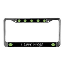 Black I Love Frogs License Plate Frame