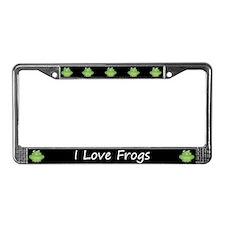Black I Love Frogs License Plate Frame