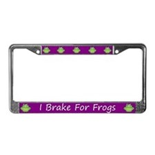 Purple I Brake For Frogs License Plate Frame