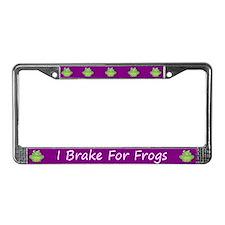 Purple I Brake For Frogs License Plate Frame